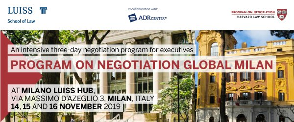 Il Program on Negotiation Global della Harvard Law School a Milano