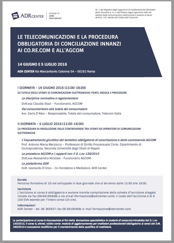 LOCANDINA CORSO-TELECOMUNICAZIONI-CONCILIAZIONE-2016