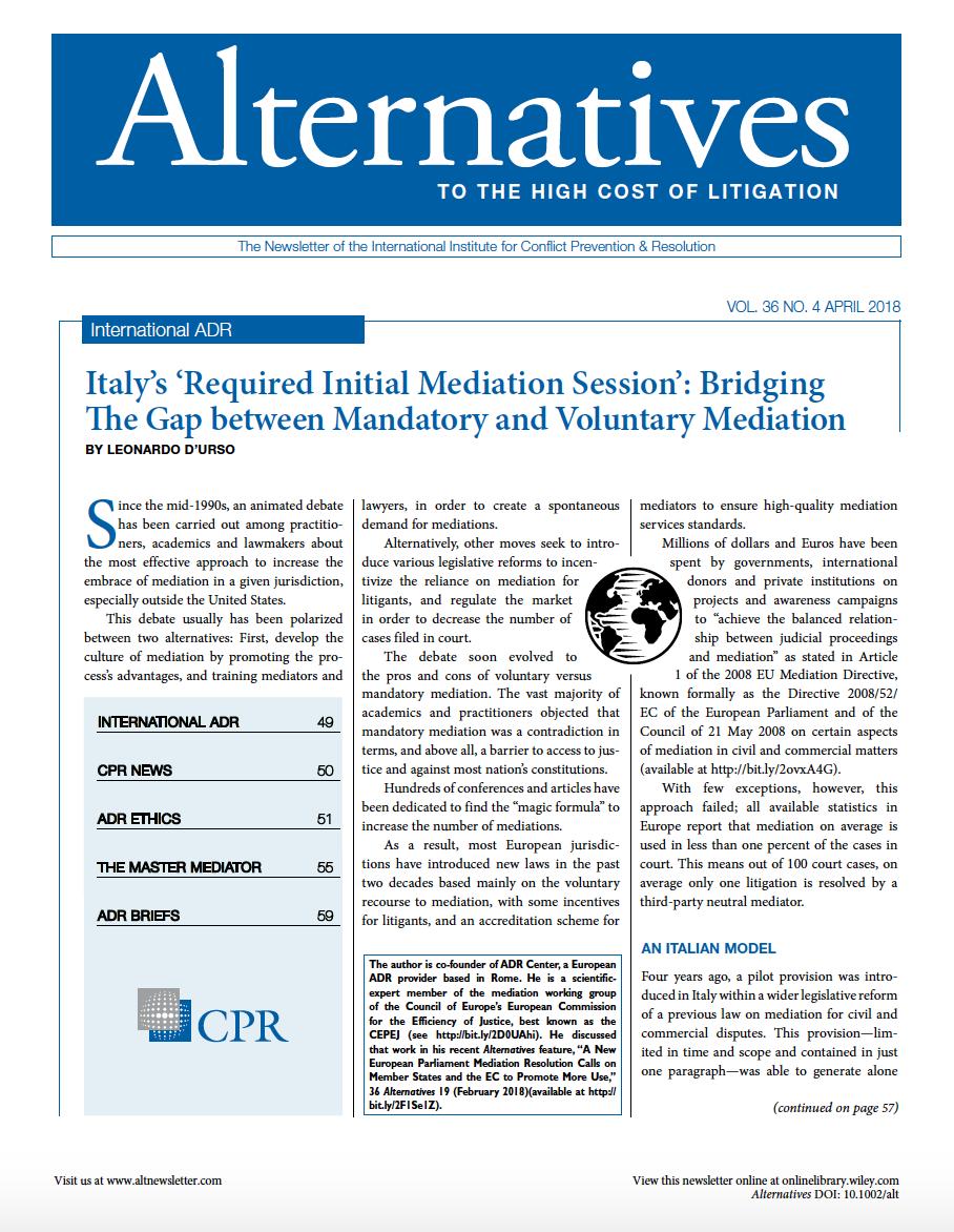 Il modello italiano di mediazione spiegato ai colleghi stranieri
