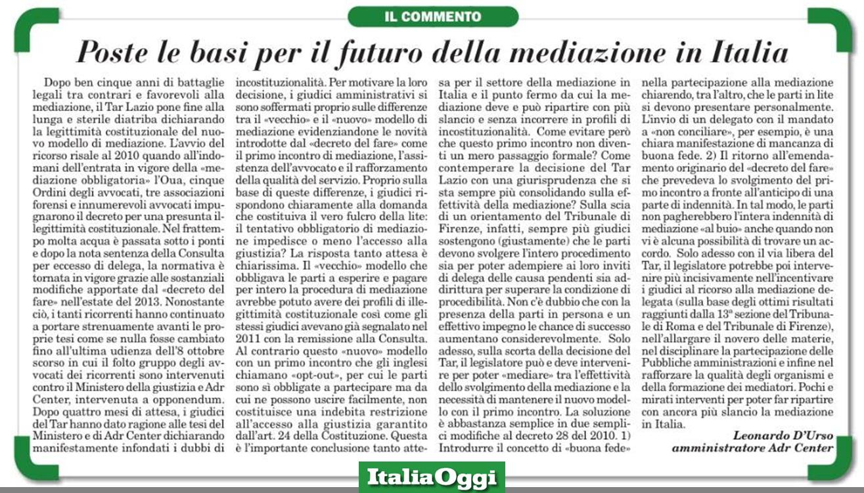 Poste le basi per il futuro mediazione - Leonardo D'Urso